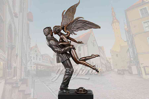 Decorative garden lover kiss bronze angel statues