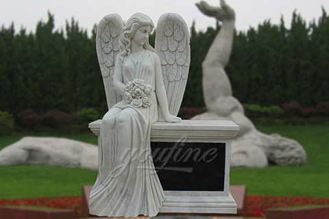 Hand Carved Marble Female Angel Headstones