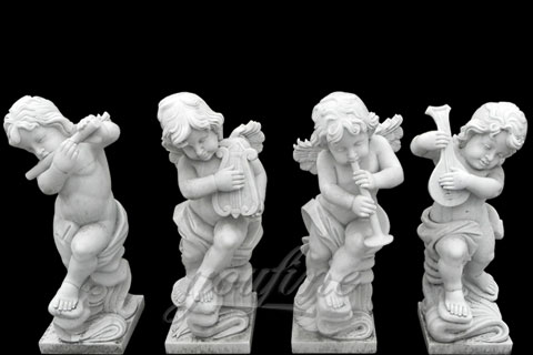 Natural Garden White Stone Little Angel Boys for decoration