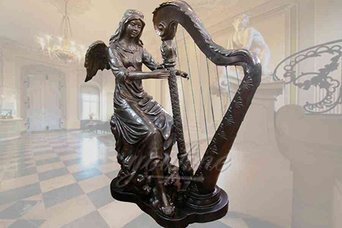 Outdoor elegant sitting bronze angel statues with harp
