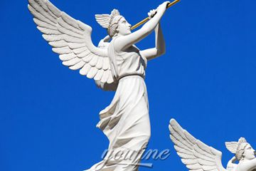 Life-size Trumpet Blowing Angel Marble Sculpture for Sale