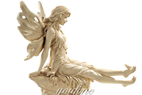 480 Pretty Fairy Sitting Marble Angel Sculpture
