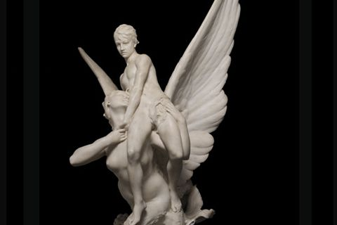 480 Winged Siren Seizing Marble Angel Sculpture