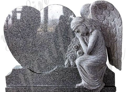 480 Hand-carved Black Granite Angel Heart Headstone