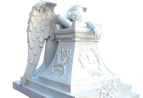 Weeping Winged Angel White Marble Tombstone