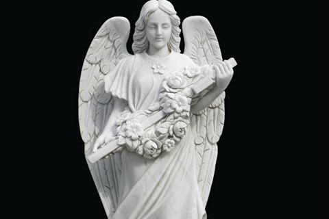 480Life Size Female White Marble Angel Statue Garden Decoration for Sale MOKK-262