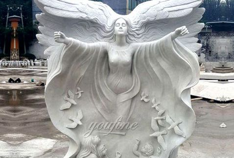 480Praying White Stone Marble Angel Statue