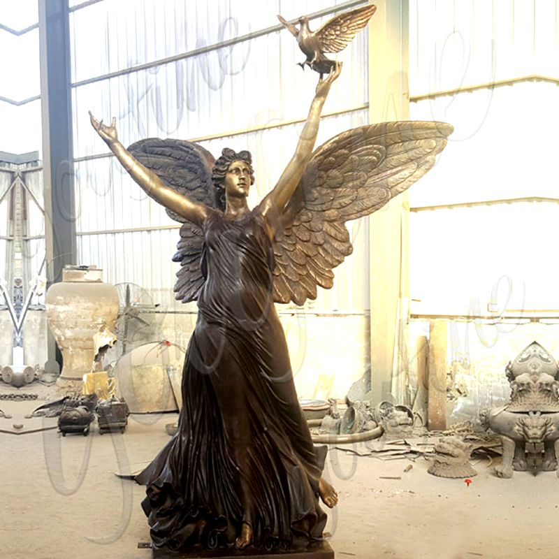 800 Casting Bronze Angel Statue with Peace Dove