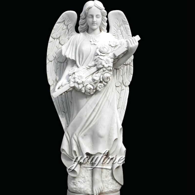 800Life Size Female White Marble Angel Statue Garden Decoration for Sale MOKK-262