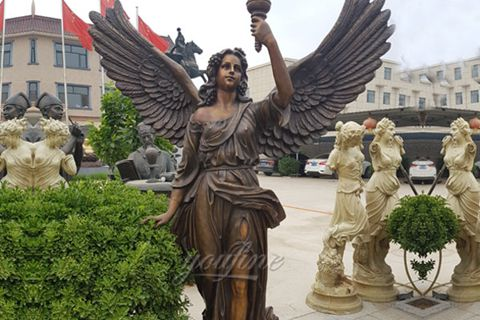 Bronze Female Angel Statue with Torch for Sale