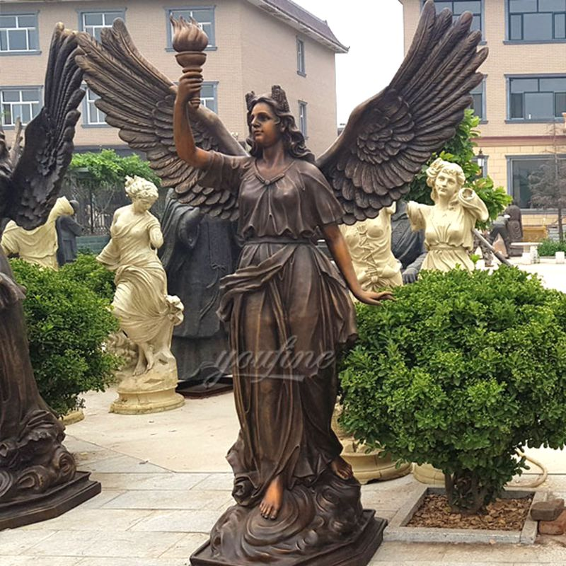 Bronze Female Angel Statue with Torch for Sales