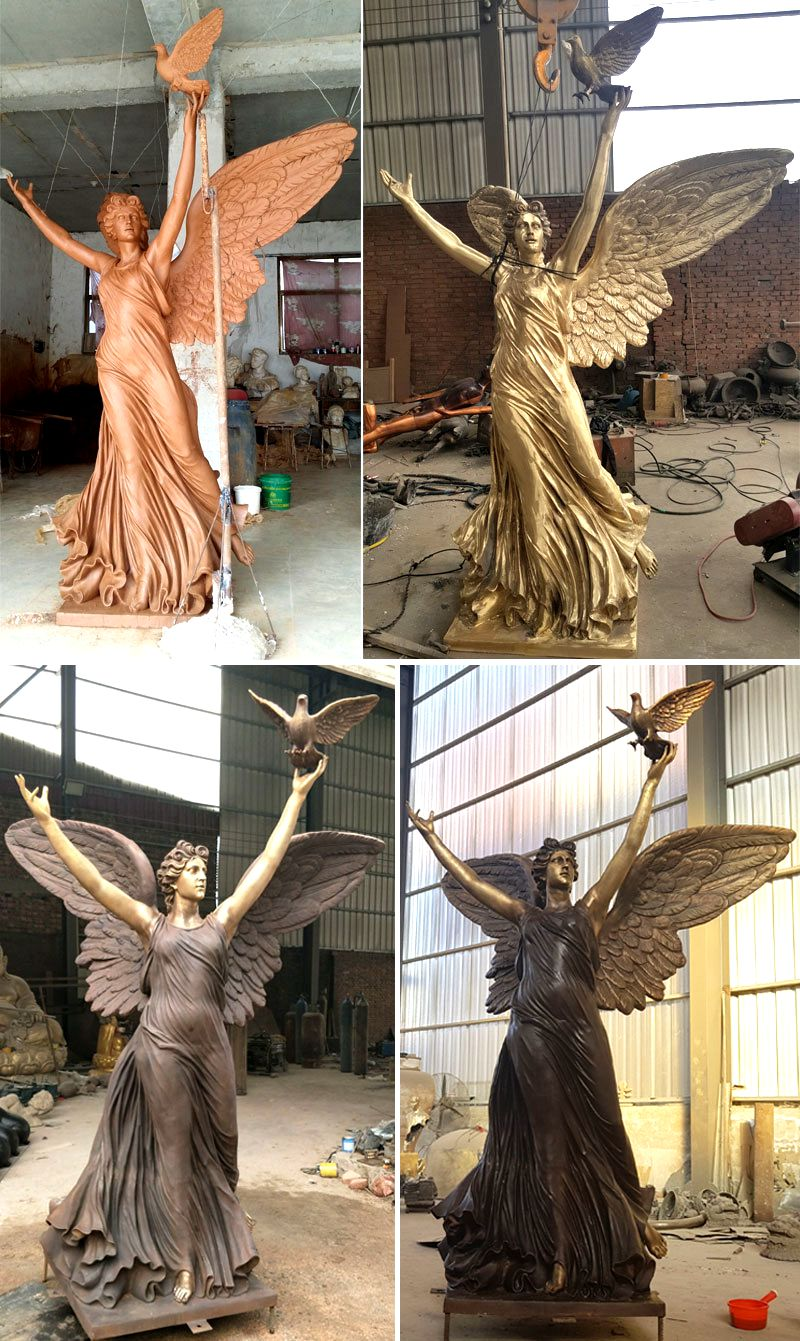 Casting Bronze Angel Statue with Peace Dove