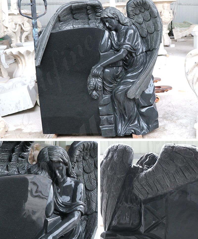 Customized Design Black Marble Stone Sleeping Angel Tombstone and Monument Sale