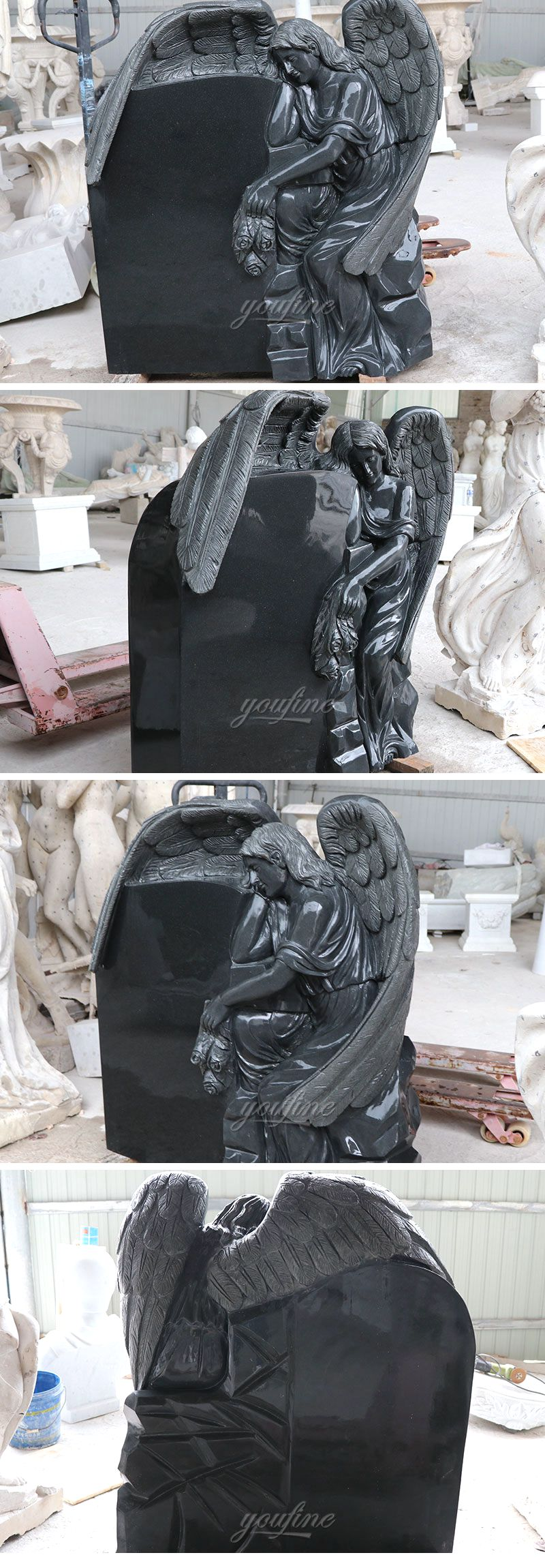 Customized Design Black Marble Stone Sleeping Angel Tombstone and Monument Sales