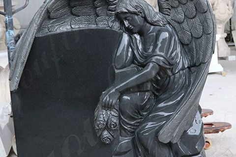 Hand-carved Black Granite Angel Heart Headstone