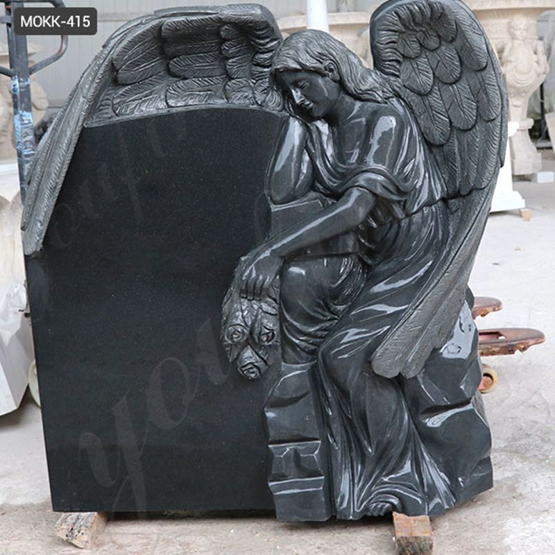 Customized Design Black Marble Stone Sleeping Angel Tombstone and Monument for Sales