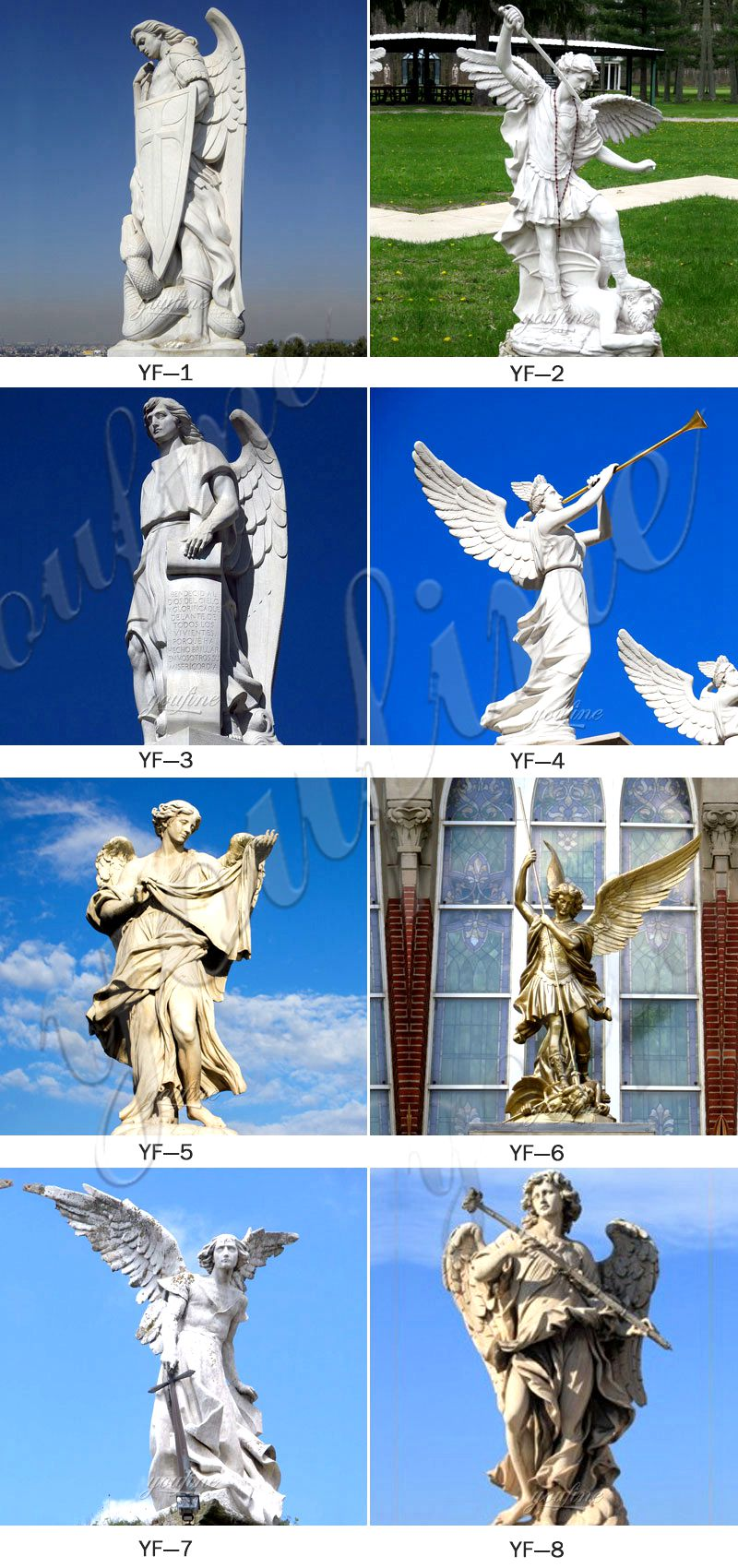 Hot Selling Outdoor Decorative White Angel Marble Statue