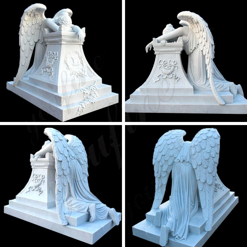 Weeping Winged Angel White Marble Tombstones