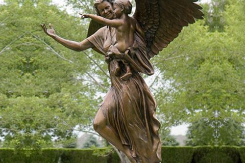 480Life Size Handmade Angel Holding Child Bronze Sculpture