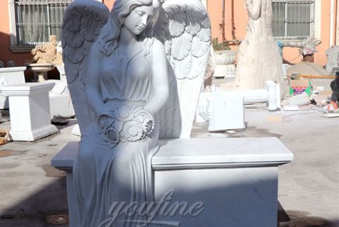 480 Female Sitting White Marble Stone Angel Tombstone Monument