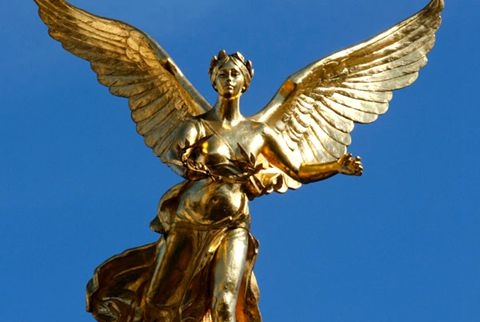 480Female Winged Golden Bronze Angel Statue