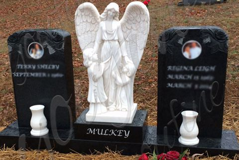 480 Angel Guardian Granite Double Tombstone Monument