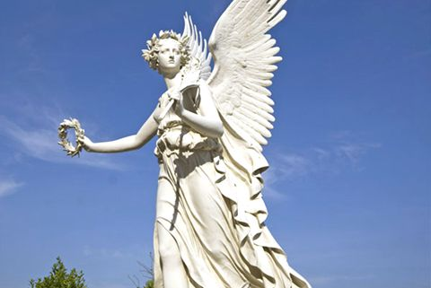 480Hand Carved Large White Marble Angel Statue