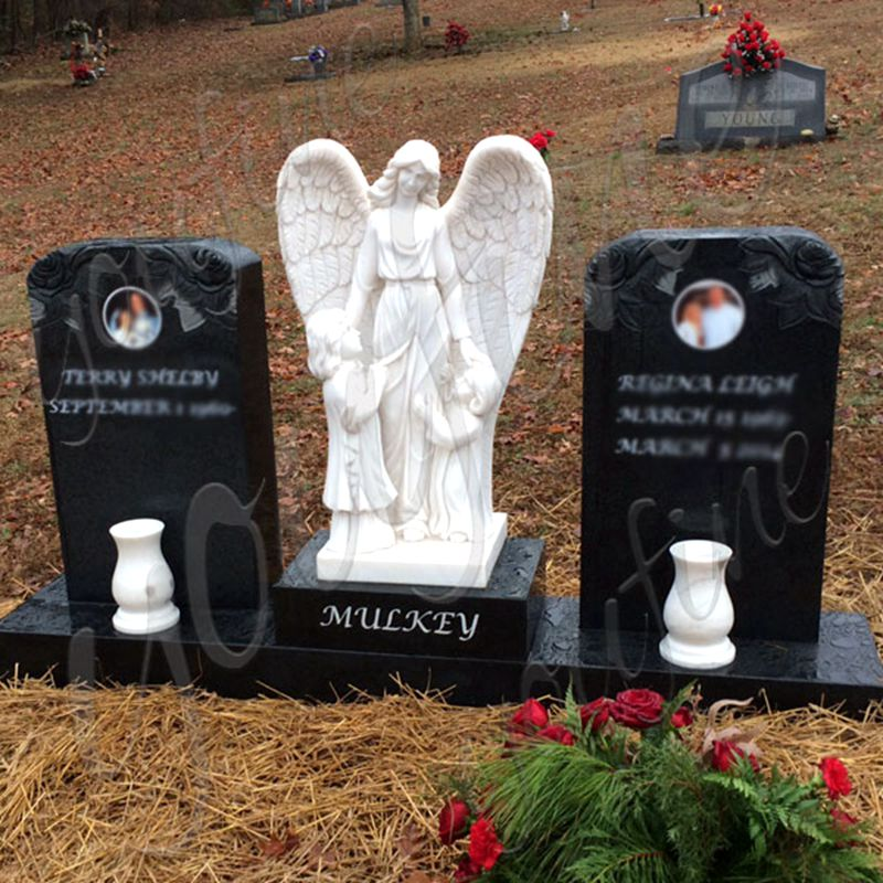 800 Angel Guardian Granite Double Tombstone Monument