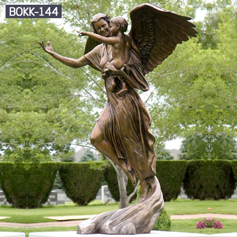 800 Life Size Handmade Angel Holding Child Bronze Sculpture