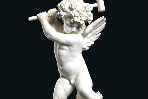 Famous Implacable Putto Cupid Statues Marble Angel Sculpture (2)