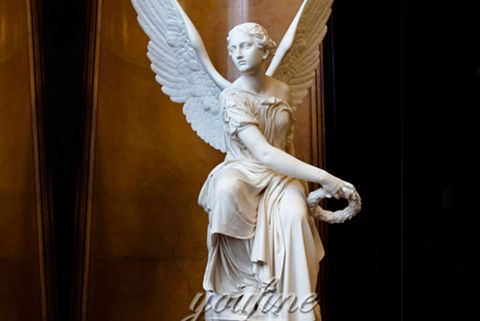 Female Angel Holding Wreath Marble Statue (2)