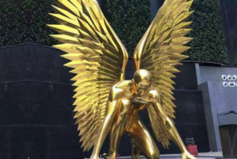Golden Running Metal Bronze Angel Sculpture (1)