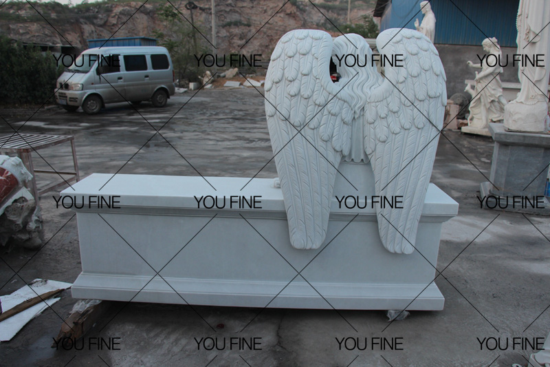 White Marble Angel Tombstone Monument
