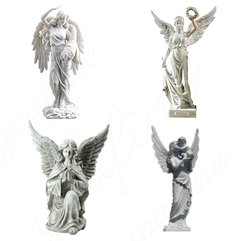 Large Female Angel Holding A Child Marble Sculpture (1)