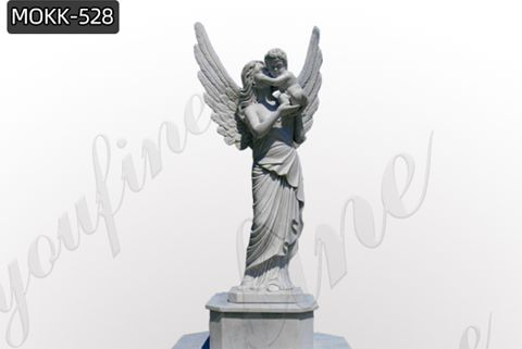 Large Female Angel Holding A Child Marble Sculpture (5)