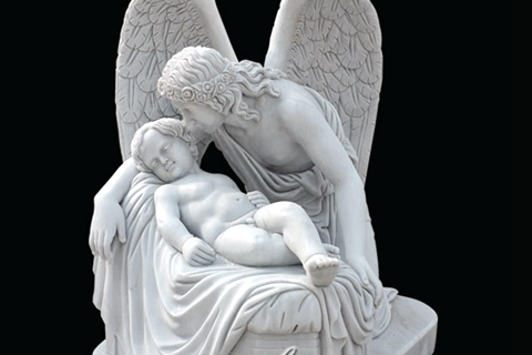 Large Marble Angel Sculpture Mother And Son Statue (1)