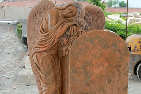 480Engraved Winged Angel Stone Granite Tombstone