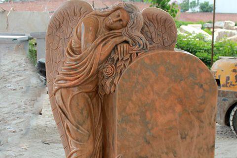 480Engraved Winged Angel Stone Granite Tombstone