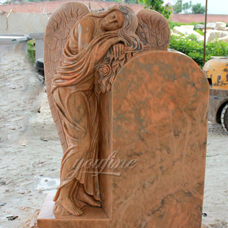 MOKK-63Engraved Winged Angel Stone Granite Tombstone