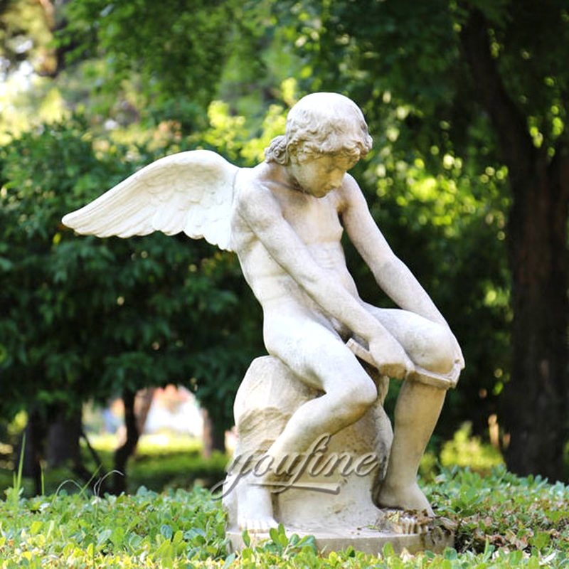Winged Boy White Marble Angel Statue (2)