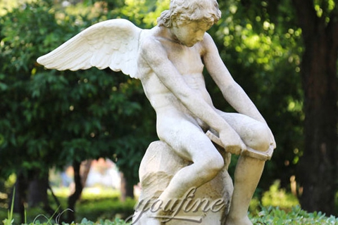 Winged Boy White Marble Angel Statue (3)