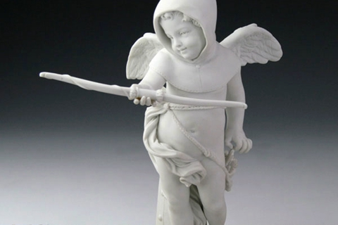 Winged Little Boy Angel White Marble Statue (3)