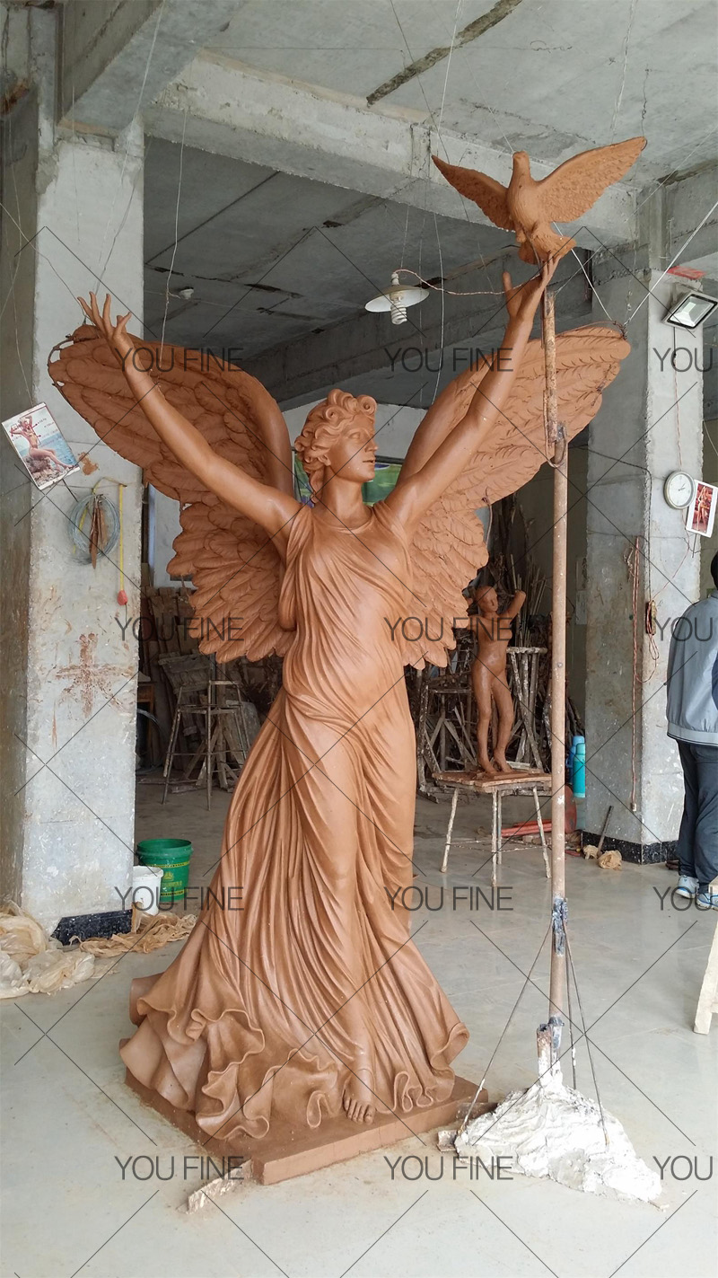Holding Dove Bronze Angel Statue