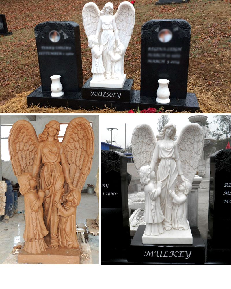 details Angel Guardian Granite Double Tombstone Monument