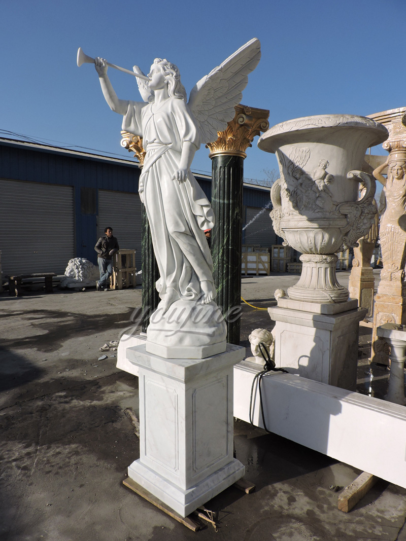 Blowing Horn White Marble Angel Statue (4)