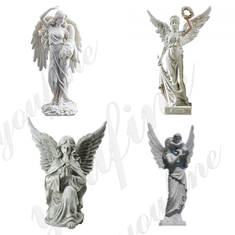 Customized Female Angel Holding Baby Marble Sculpture (2)