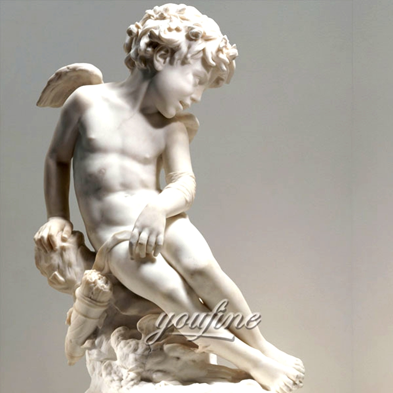 Famous Eros Cupid Naughty Boy Marble Angel Statue (1)