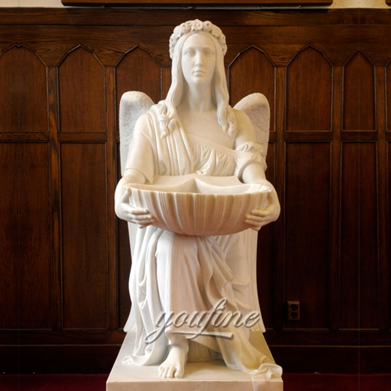 Famous Marble Sculpture Holding Basin Kneel Angel Statue (1)