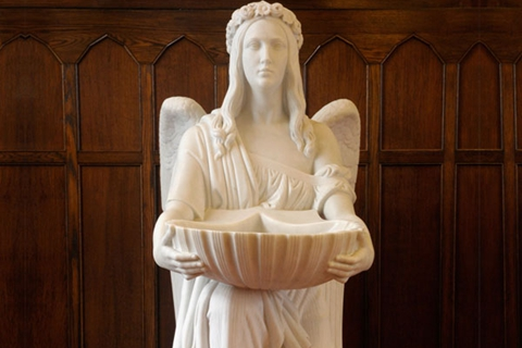 Famous Marble Sculpture Holding Basin Kneel Angel Statue (2)