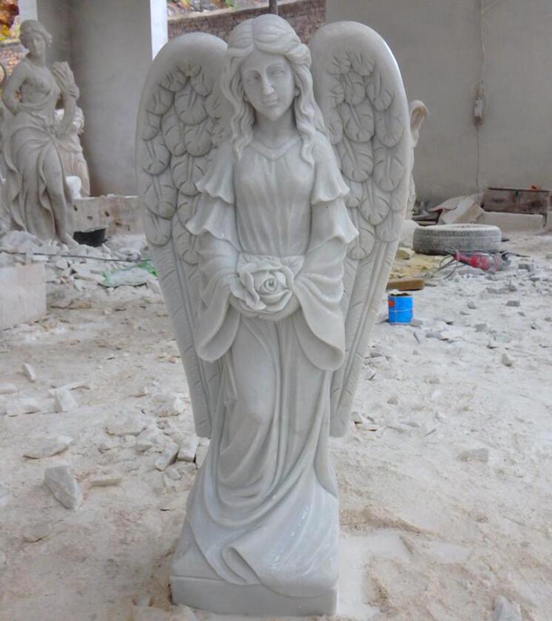 Garden Female Marble Angel Statue for Germany Customer (2)